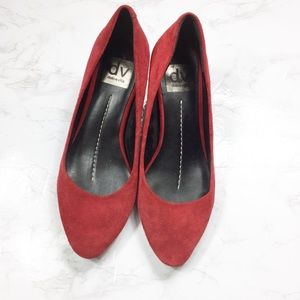 Dolce Vita Red Suede Pointed Toe Kitten Heels
